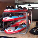 Rack Windsurf PVC chargé avec des Tiga HyperX