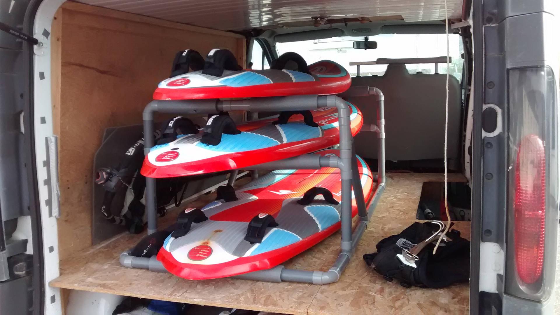 rack windsurf PVC chargé
